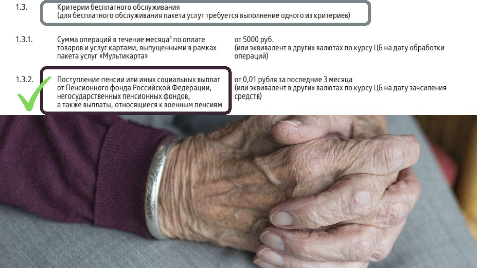 бесплатное обслуживание карта мир пенсионерам