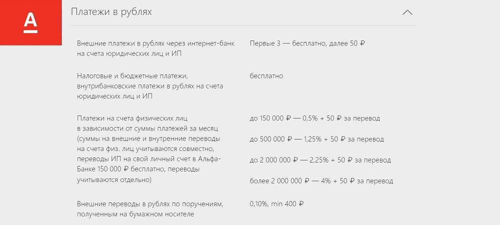 Рублевый счет